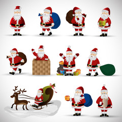 Santa Claus Set - Isolated On Gray Background