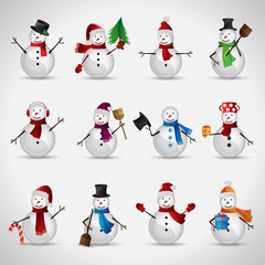 Snowman Set - Isolated On Gray Background
