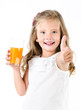 canvas print picture - Happy little girl with glass of juice and finger up