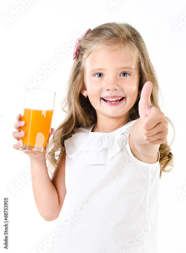 canvas print picture Happy little girl with glass of juice and finger up