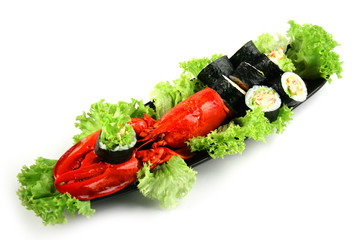 Sushi roll with crab