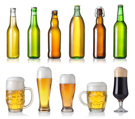 set with different beer isolated on white background