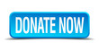donate now blue 3d realistic square isolated button