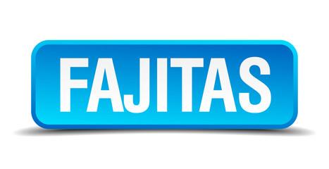 fajitas blue 3d realistic square isolated button