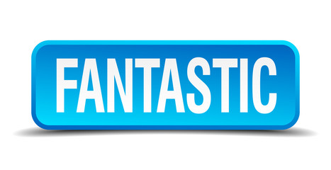 fantastic blue 3d realistic square isolated button