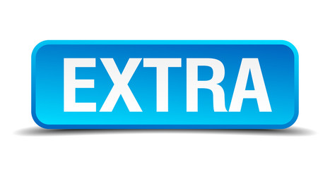 extra blue 3d realistic square isolated button