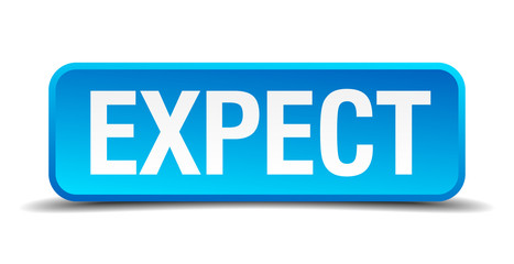 expect blue 3d realistic square isolated button