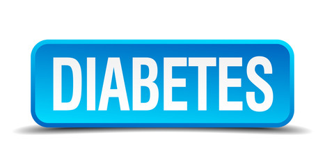 diabetes blue 3d realistic square isolated button