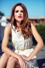 sexy stylish woman model in summer dress