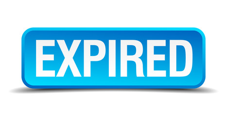 expired blue 3d realistic square isolated button