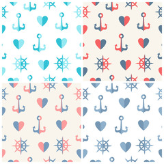 Navy vector seamless patterns set anchor, steering wheels and