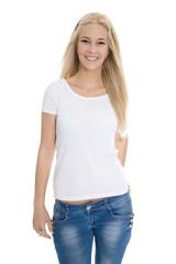 Junge blonde glückliche Frau isoliert in Jeans auf Weiß