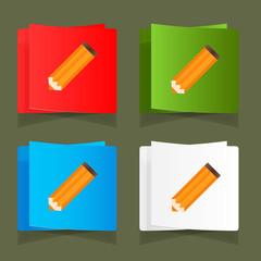 Set of simple icons pencil orange eps