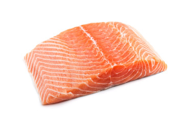 fresh salmon steak over white background