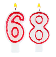Birthday candles number sixty eight isolated on white background