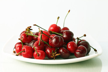 cherry on white plate