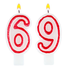 Birthday candles number sixty nine isolated on white background