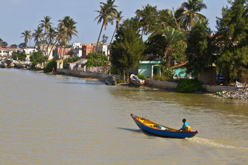 Boat in Senegal River.Saint Louis, Senegal, Africa