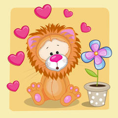 Lion with heart and flower
