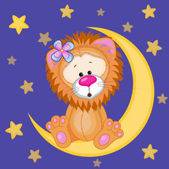 Cute Lion on the moon
