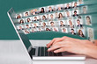 Hands Using Laptop With Businesspeople Collage