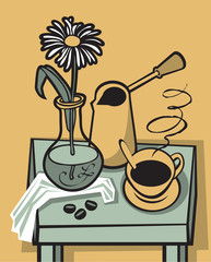 still life with a cup of coffee and the flower on table
