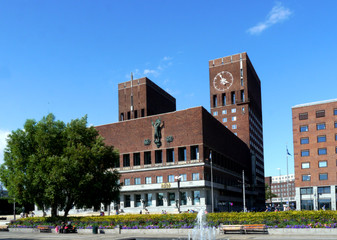 landmark city hall of oslo, norway