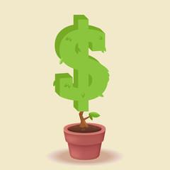 dollar vector plant concept