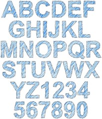 Simple sketched and hatched complete alphabet