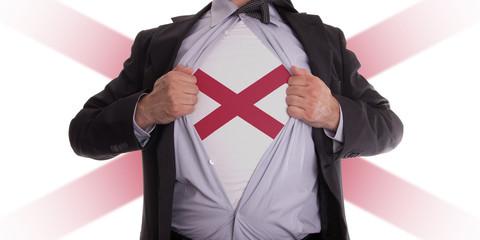 Businessman with Alabama flag t-shirt