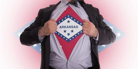 Businessman with Arkansas flag t-shirt