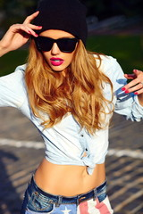 stylish blond woman in casual urban jeans cloth