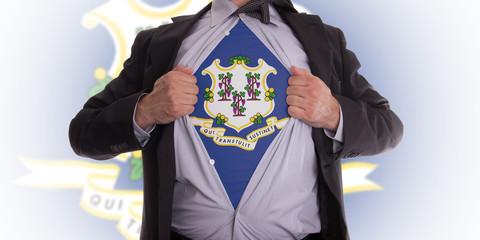 Businessman with Connecticut flag t-shirt
