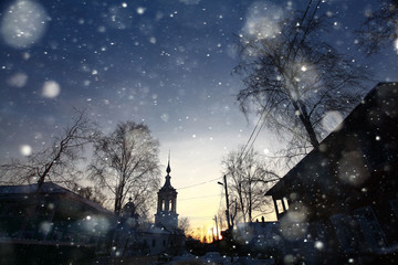 church snow winter