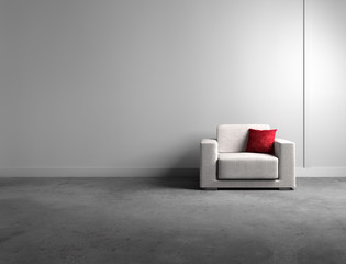 Sessel mit rotem Kissen