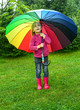 Child with umbrella outdoors