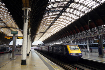 train waiting at the platform, paddington station, london