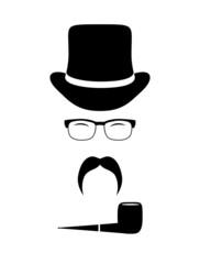 Gentleman attributes (hats, eyeglasses, mustache, pipe). Vintage