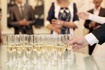 glasses with champagne reception