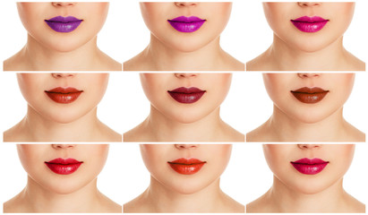 Collage of female lips with different colorful lipgloss
