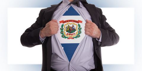 Businessman with West Virginia flag t-shirt