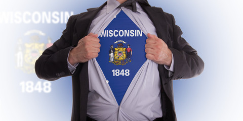 Businessman with Wisconsin flag t-shirt