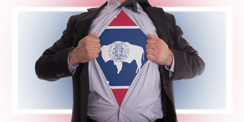 Businessman with Wyoming flag t-shirt