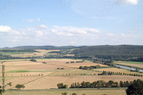 canvas print picture Weserbergland im August