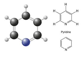 Structural chemical formulas and model of pyridine molecule