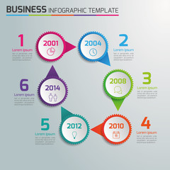 6 Steps process business infographics, light vector background