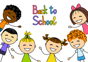 Cute kids with school message