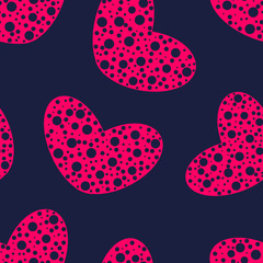 Pink hearts with holes seamless pattern