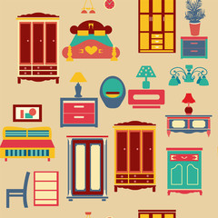 seamless pattern with bedroom set furniture -illustration
