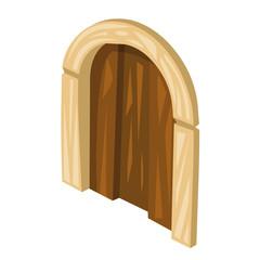 wooden door isolated illustration